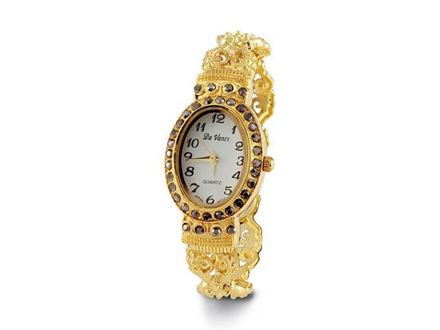 Ladies Gold Tone Black CZ Victorian Style Bangle Watch
