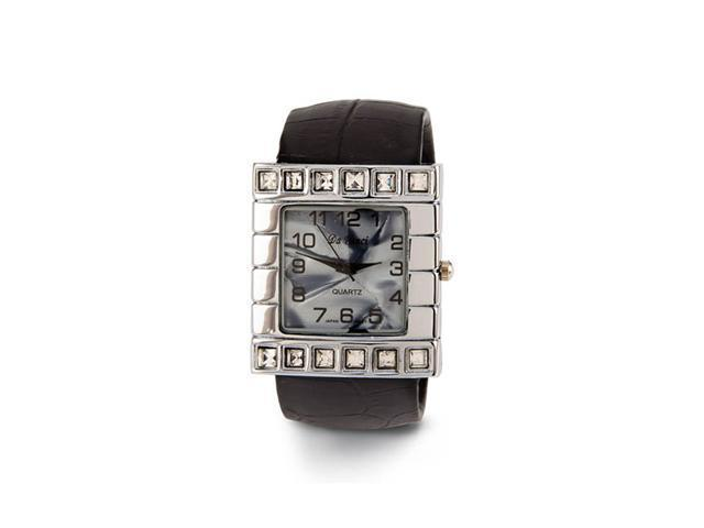 New Women's Black Band Mother of Pearl CZ Bangle Watch