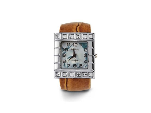 New Women's Brown Band Mother of Pearl CZ Bangle Watch