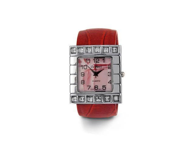 New Women's Red Band Mother of Pearl CZ Bangle Watch