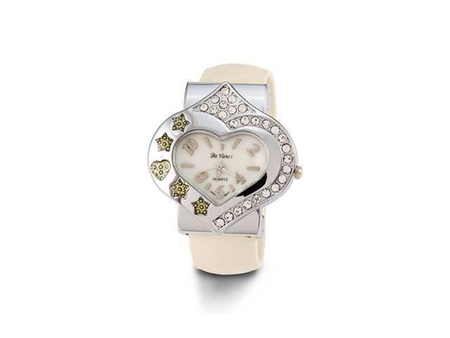 Women's New Heart Star CZ Beige Quartz Bangle Watch