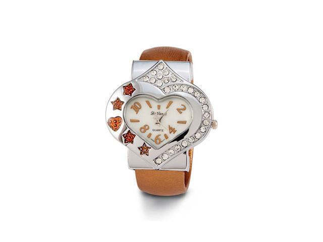 Women's New Heart Star CZ Brown Quartz Bangle Watch