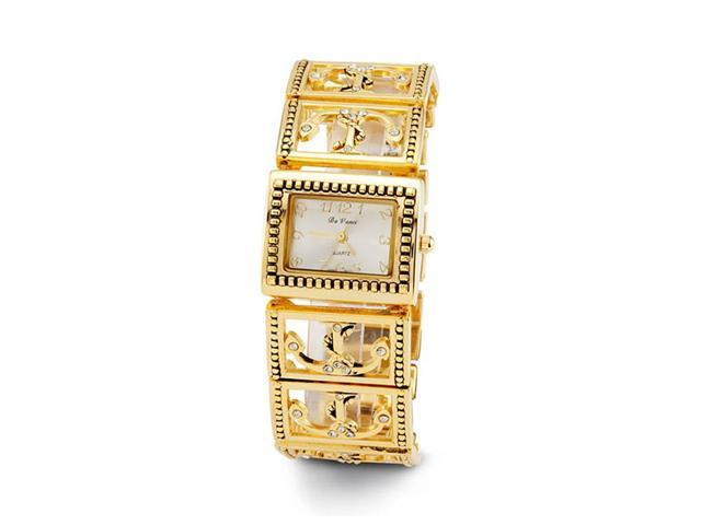 Ladies Gold Tone Anchor White CZ Antique Style Watch