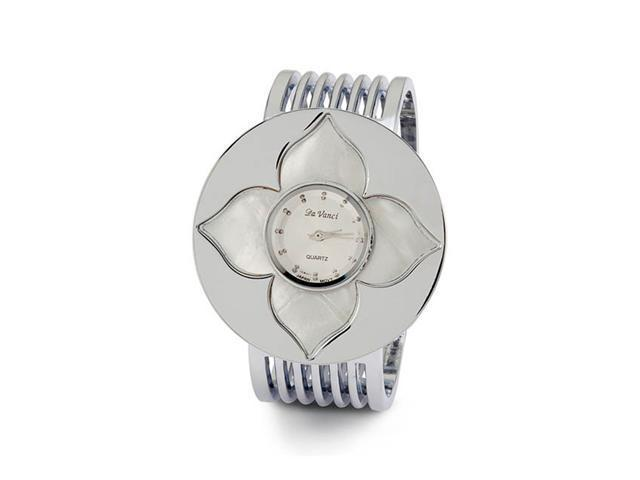 White Mother of Pearl Flower Silver Tone Band Watch