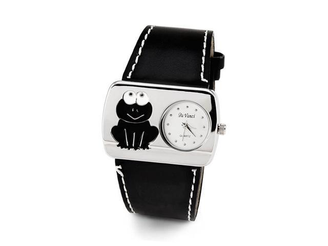 Ladies Frog Black Leather Band Silver Tone Wristwatch