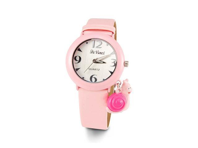 Ladies White Dial Pink Leather Band Quartz Wristwatch