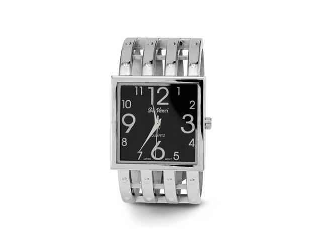 Women's Black Dial Silver Tone Link New Bangle Watch