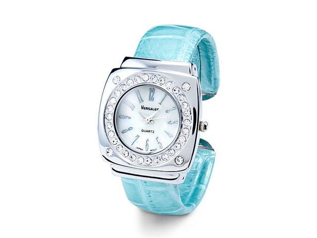 Green Silver Tone Bezel Round CZ Fashion Bangle Watch