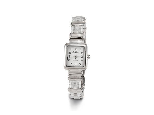 Women's New Silver Tone Clear Plastic Bangle Watch