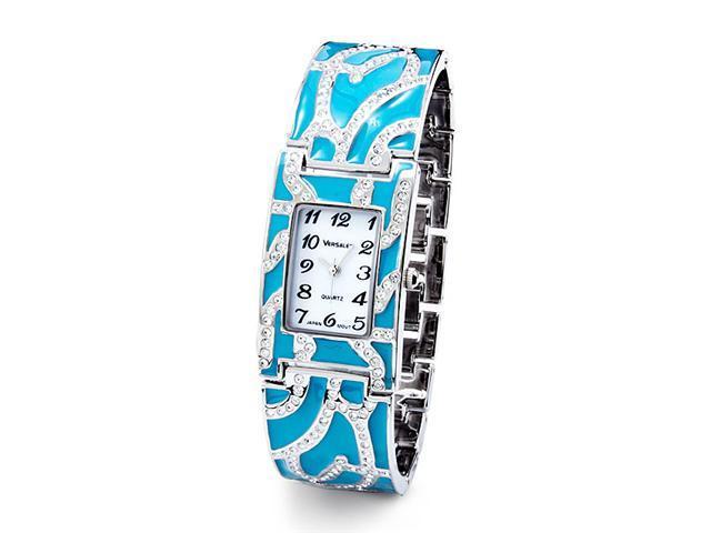 Blue Enamel Silver Tone CZ Band Fashion Bangle Watch