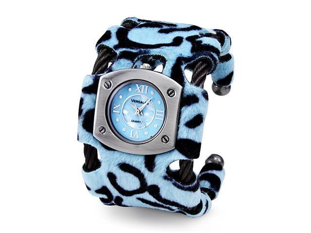 New Women's Blue Black Cable Roman Numbers Bangle Watch