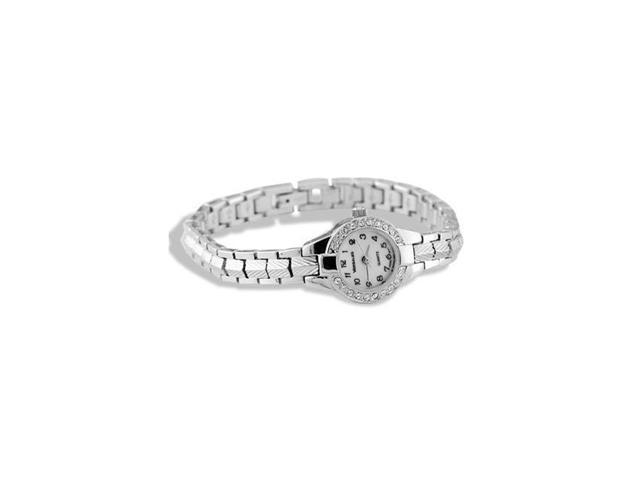 Ladies Stainless Steel CZ Bezel Bracelet Links Watch