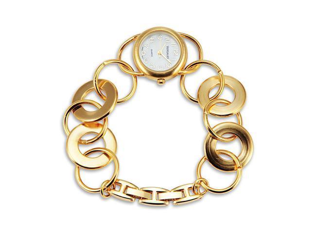 Gold Tone Women's Open Links White Dial Bracelet Watch