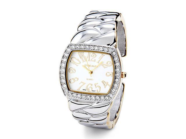 Two Tone Dial Braid Band New Women's CZ Bangle Watch