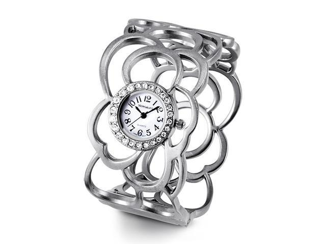 Ladies Wide Silver Tone Round CZ Fashion Bangle Watch