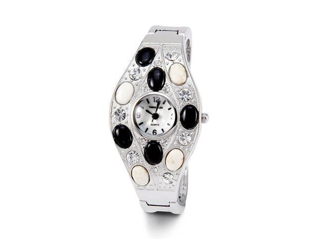 Ladies White CZ Black White Stones Silver Tone Watch