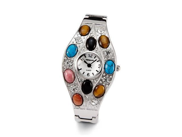 Ladies White CZ Black Mixed Stones Silver Tone Watch