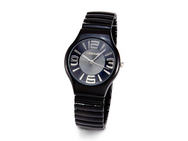Mens Black Band Large Silver Tone Face Quartz Watch