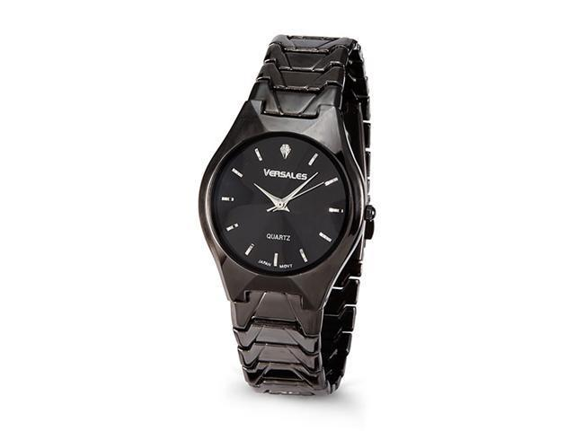 Men's Black Dial Link Band CZ Marker New Wrist Watch