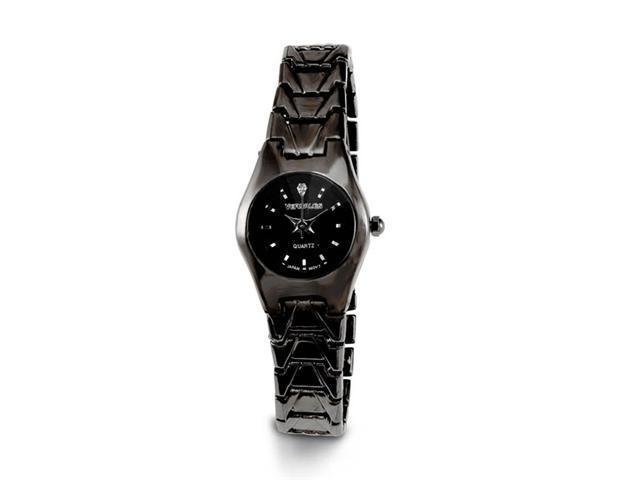 Ladies Shiny Black Band White CZ Stone Dial Wrist Watch
