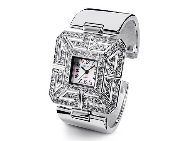 New Silver Tone Bangle White CZ Fashion Quartz Watch