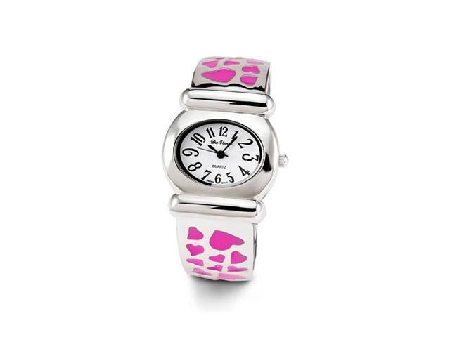 Ladies Silver Tone Pink  Hearts Quartz Bangle Watch