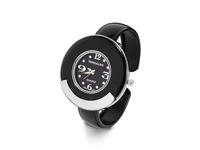 New Ladies Black Silver Tone Round Bezel Bangle Watch