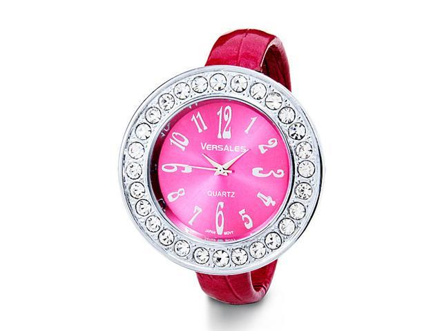 Women's CZ Pink Bezel Dial Leather Strap Bangle Watch