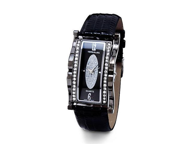 Women's CZ Black Dial Alligator Synthetic Strap Watch