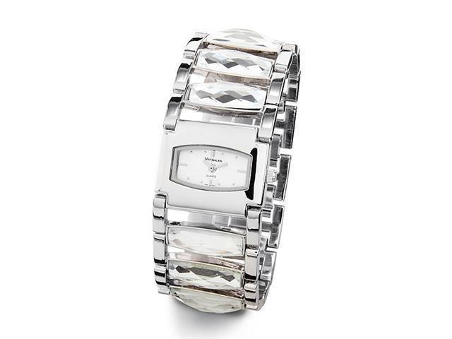 New Silver Tone Links Band Crystals Women's Wristwatch