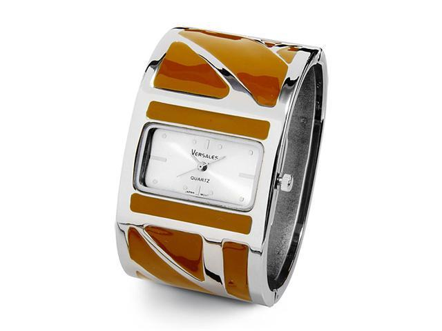 New Ladies Wide Brown Silver Tone Dial Bangle Watch