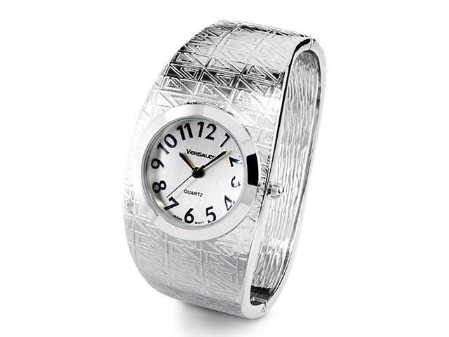 Women's Silver Tone Quartz Fashion Bangle Cuff Watch