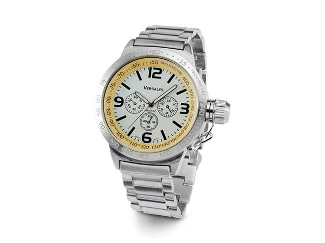 Mens Silver Tone White Dial Stainless Steel Case Watch