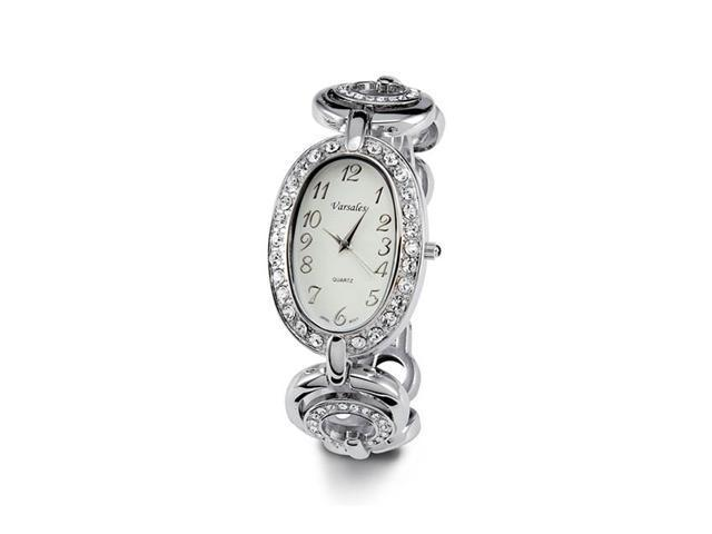 Ladies Silver Tone White CZ Stone Link Bracelet Watch