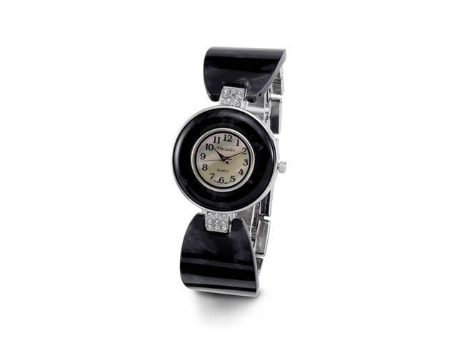 Ladies Mother of Pearl White CZ Stone Black Band Watch