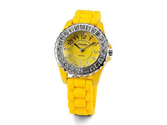 Womens Brilliant New Yellow White CZ Stone Wrist Watch