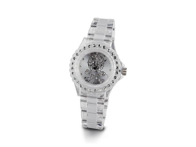 Ladies Genuine White CZ Stone Skull Cross Bones Watch