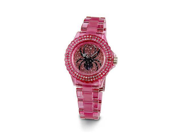 Ladies Pink White CZ Stone Black Spider Bracelet Watch