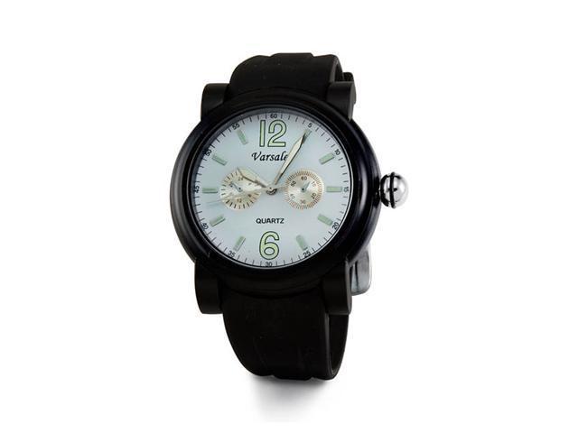 Mens White Dial Black Classic Sporty Quartz Wrist Watch
