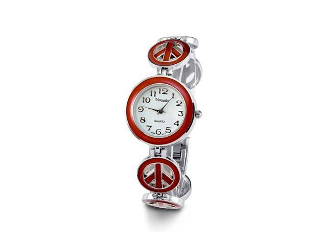 Ladies Silver Tone Red Peace Sign Quartz Bracelet Watch