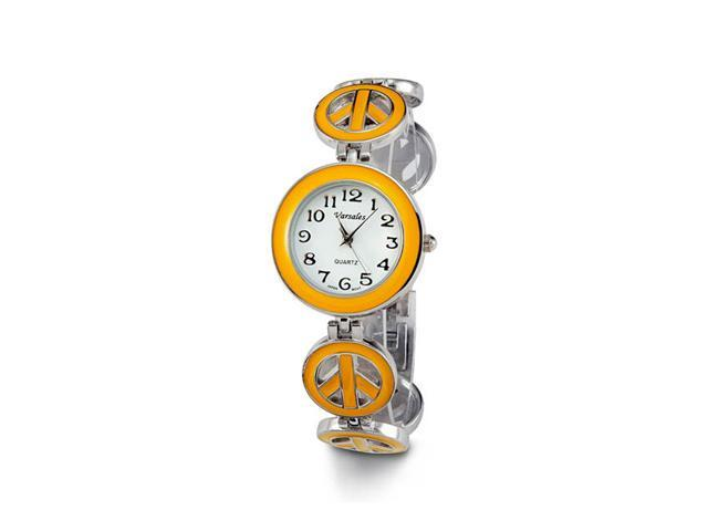 Ladies Silver Tone Yellow New Peace Sign Bracelet Watch