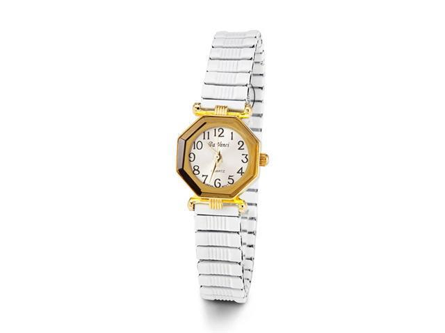 Ladies Gold Tone White Band Quartz Fashion Wristwatch