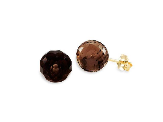 New 14k Yellow Gold Round Smokey Quartz Stud Earrings