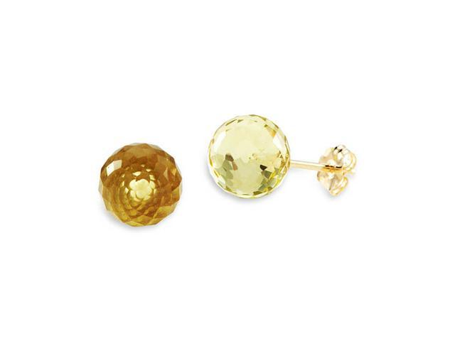 New 14k Yellow Gold Round Lime Quartz Stud Earrings