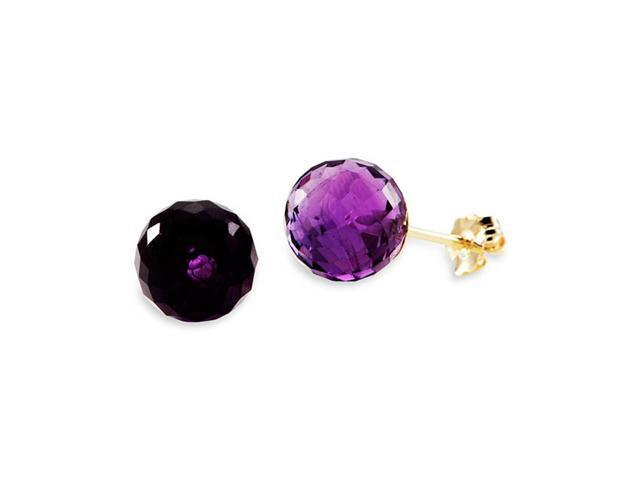 New 14k Yellow Gold Round Purple Quartz Earrings