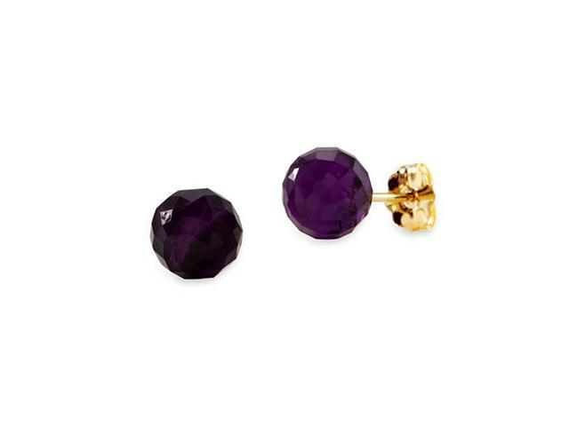 New 14k Yellow Gold Round Purple Quartz Stud Earrings