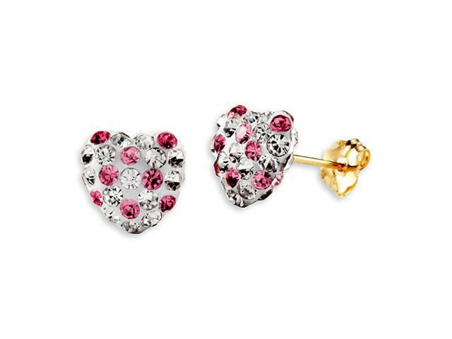 14k Yellow Gold Round White Pink CZ Heart Stud Earrings