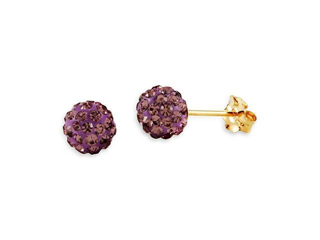 Women's 14k Yellow Gold Round Pink CZ Studs Earrings