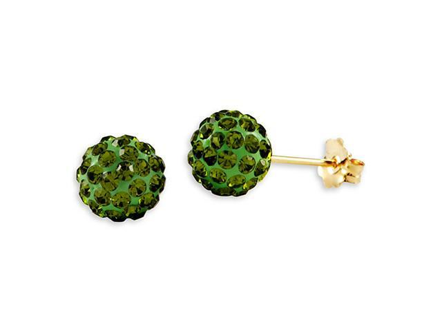 New 14k Yellow Gold Round Green CZ Ball Studs Earrings
