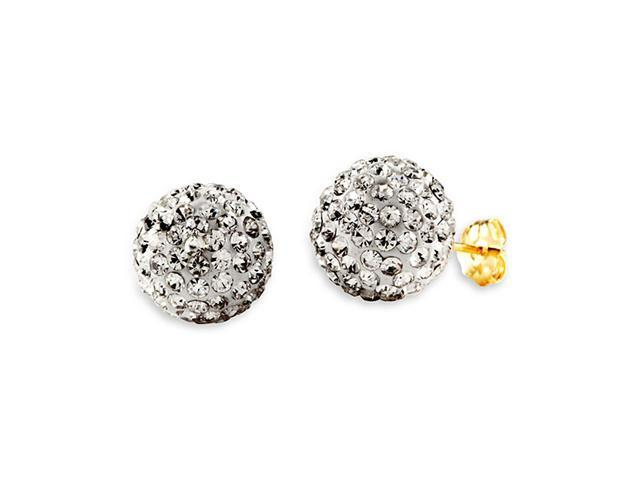 New 14k Yellow Gold Round White CZ Ball Studs Earrings